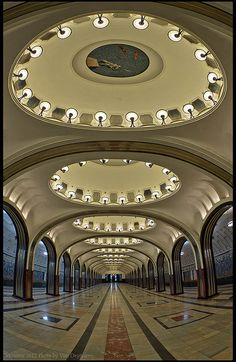 Moscow. Metro station Mayakovskaya. by Yuri Degtyarev. It is a fine example of pre-World War II Stalinist Architecture and one of the most famous Metro stations in the world.