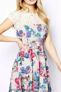 Lace Splicing Floral Printing Fashion Dress