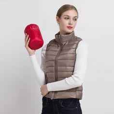 Cheapest 2018 New Women Vests Winter Ultra Light White Duck Down Vest Female Slim Sleeveless Jacket Women's Windproof Warm Waistcoat Winter Coats Women, Coats For Women, Jackets For Women, Clothes For Women, Ladies Coats, Mens Winter, Down Vest, Down Parka, Female Shorts
