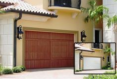 Upgrade your curb appeal with low maintenance Garage Door Refacing. Easy to install and termite free tree free wood Garage Door panels. Residential Garage Doors, Garage Door Springs, Wood Ceilings, Wooden Doors, Shutters, Curb Appeal, New Homes, Construction, Exterior