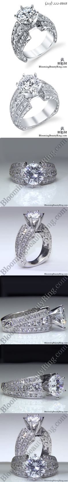One of our custom engagement rings showing 2 different configurations. Many of our engagement rings can be made with different shape diamonds in the band of the ring as shown in the top 2 pictures. These rings have approximately 2 carats of accent diamonds depending upon the configuration that you choose. BloomingBeautyRing.com (213) 222-8868