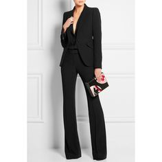 Alexander McQueen Crepe blazer (5.710 BRL) ❤ liked on Polyvore featuring outerwear, jackets, blazers, alexander mcqueen jacket, single button blazer, crepe blazer, blazer jacket and lined jacket