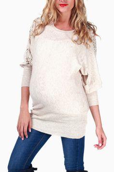 Beige-Crochet-Sleeve-Maternity-Sweater