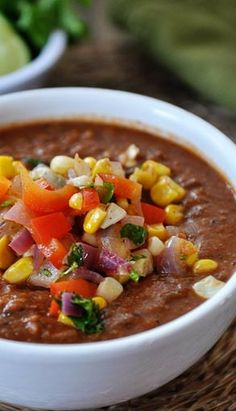 ... roasted tomato and black bean soup with fresh salsa fire roasted