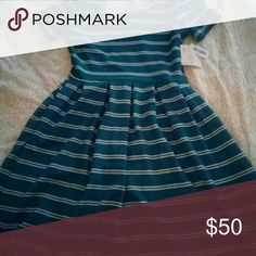 Lularoe Teal striped Amelia Gorgeous color | fit and flare | POCKETS!!!!! LuLaRoe Dresses Midi