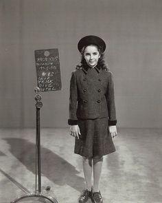 "Elizabeth Taylor wardrobe test for ""National Velvet""."