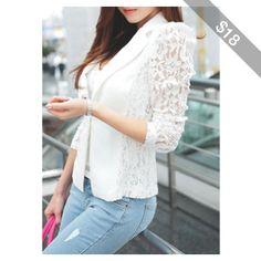 Notch Collar Long Sleeve Lace Patchwork Blazer