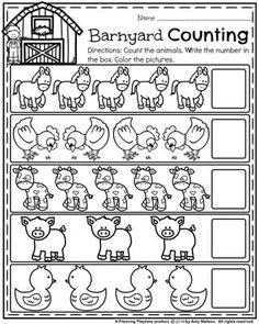 Back to School Preschool Counting Worksheets - Barnyard Counting Farm Animal Theme.