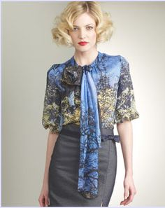 91018be2a2b2d Shop for Tuleh Forest-Print Silk Blouse at ShopStyle.