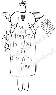 Primitive Blessings embroidery pattern #angel #patriotic