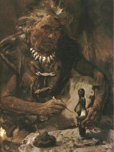 """Prehistoric Man"", 1960. Illustration by Zdenek Burian."
