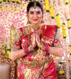 Archana Shastry and Jagadeesh Wedding Photos – South India Fashion Half Saree Designs, Blouse Designs Silk, Bridal Blouse Designs, Wedding Jewellery Designs, Indie Mode, Long Gown Dress, Wedding Silk Saree, Indian Beauty Saree, Indian Sarees