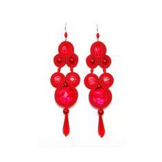 Soutache earrings red long jewelry handmade shop gift for sale to buy orecchini pendientes oorbellen Ohrringe brincos örhängen by SoutacheFlowOn on Etsy