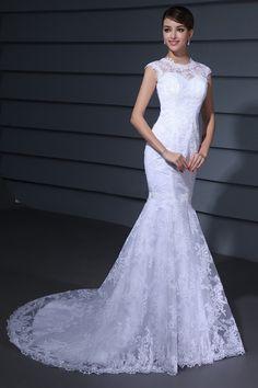 Mermaid Scoop Neck Sleeveless Lace Chapel Train Wedding Dress