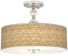 "Seagrass Giclee 16"" Wide Semi-Flush Ceiling Light-$199.99"
