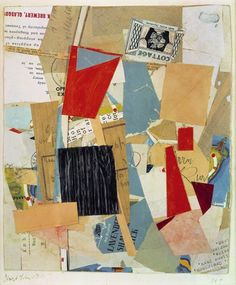 Kurt Schwitters (1887-1948), Cottage (1946), paper collage, 21.2 x 25.5cm. Collection of Staatliche Museen, Berlin, Germany. Via Artsy.