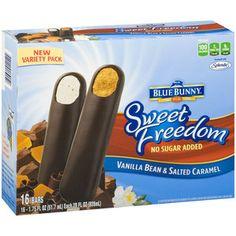 Blue Bunny Sweet Freedom No Sugar Added Vanilla Bean & Salted Caramel Ice Cream Bars, fl oz, 16 count Frozen Appetizers, Salted Caramel Ice Cream, 16 Bars, Blue Bunny, Healthy Menu, Icecream Bar, Count, Freedom, Vanilla