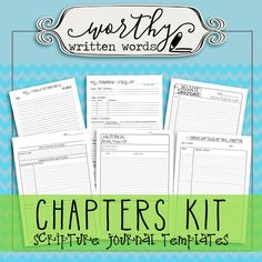 Everything you need to start a Chapters Scripture Journal in one discounted price so you don't have to purchase the templates individually. This kit includes the following templates in .pdf files: - T