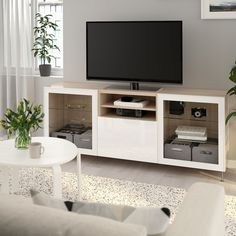 BESTÅ TV bench with drawers - white stained oak effect, Selsviken/Stallarp high-gloss/white clear glass - IKEA Plastic Foil, Plastic Glass, Glass Tv Unit, Besta Tv Bank, Bench With Drawers, Tv Bench, Tempered Glass Door, Steel Doors, Tv Consoles