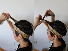 Headscarf how-to: 3 ways! Added added this video I made - it has different styles and will be handy for the more video tutorial-inclined people :) I know this post probably isn't very. Bandana Hairstyles Short, Headbands For Short Hair, Pigtail Hairstyles, Bobby Pin Hairstyles, Headband Hairstyles, Hairstyle Short, Braided Hairstyles, Hair Scarf Styles, Curly Hair Styles