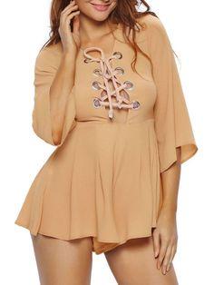 Sexy Charming Lace-Up Hollow Out Plain Flared Romper