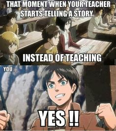 Anime/manga: SNK Characters: Armin, Eren, and Mikasa, that's why I love lit. and writing class...