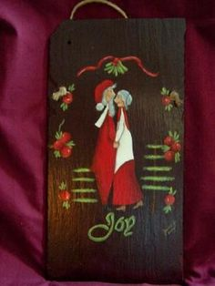 view a larger size of this Americana  Mr and Mrs Santa slate.