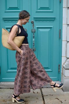ethnic print cropped palazzo pants + clogs