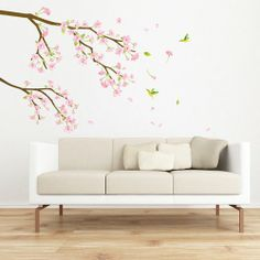 Amazon.com: Reusable Decoration Wall Sticker Decal - Hummingbirds in Pink Flower Tree: Home & Kitchen