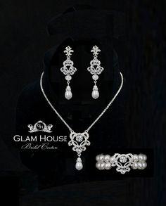 Pearl Wedding Jewelry  Bridal Jewelry Set  pearl by GlamHouse