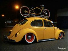 Custom VW bug and custom bicycle.