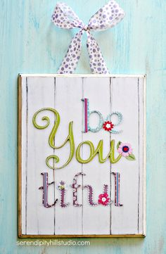2D 11x14 print on WOOD, Be YOU tiful, girls typography, kids art, playroom print, wall letters, shabby chic art, vintage sign on Etsy, $45.00