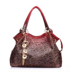 HandBags Shoulder Bags Floral Print PU Leather Tote Bag Red/Gray/Blue Free Shipping