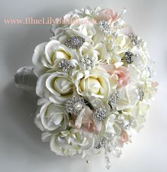 brooch bouquet for real weddings | Real touch brooch bridal bouquet. Brooch wedding bouquet in ivory ...