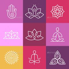Vector Yoga Icons and Round Line Signs - Sports/Activity Conceptual