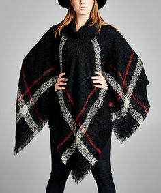 This Black & White Plaid Poncho - Plus is perfect! #zulilyfinds