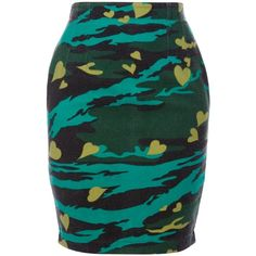 Jean Paul Gaultier Vintage Printed Skirt (£110) ❤ liked on Polyvore featuring skirts, bottoms, green, jean paul gaultier skirts, green pencil skirt, short skirts, camo skirt and camouflage skirt