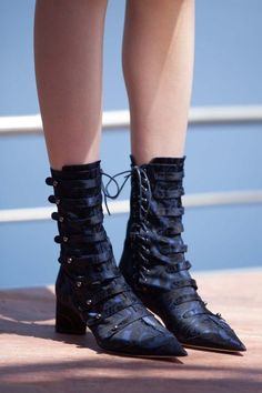 Victorian jacquard pointy-toe lace-up detail boots at Dior Cruise 2016. * booties * style