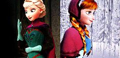 """It's funny because in the Elsa gif she's saying """"thank you"""" and in the Anna gif she's saying """"your welcome"""""""
