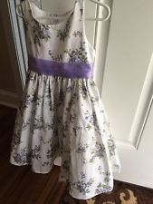 Melody Kids toddler girl Sz 3-4 Formal Dress White w Purple Flowers Wedding