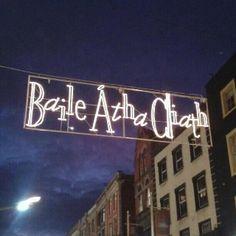 Gaelic holiday greetings in Dublin, Ireland