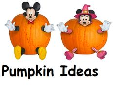 I saw these Mickey and Minnie Push Pin Pumpkins on someone's porch and just loved them! Great for youngsters too young to carve!