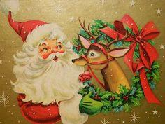 Vintage Christmas Box Santa Claus by TheIDconnection Christmas Card Images, Vintage Christmas Images, Christmas Gift Box, Christmas Scenes, Christmas Past, Christmas Gift Wrapping, Retro Christmas, Christmas Glitter, Christmas Deer
