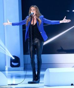 Star turn: Celine Dion performs on Vivement Dimanche (translated as Confidentially Yours) Celine Dion Show, Celine Dion Concert, Teen Star, Still Love Her, Female Singers, Celebs, Celebrities, My Idol, Leather Pants