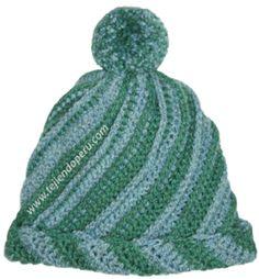 Paso a paso para tejer un gorro odessa en dos colores a crochet... queda con una linda textura en espiral!