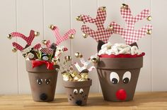Diy Clay Pot Deer Family. Fun family activity to do at the holidays! Everyone decorates their own!