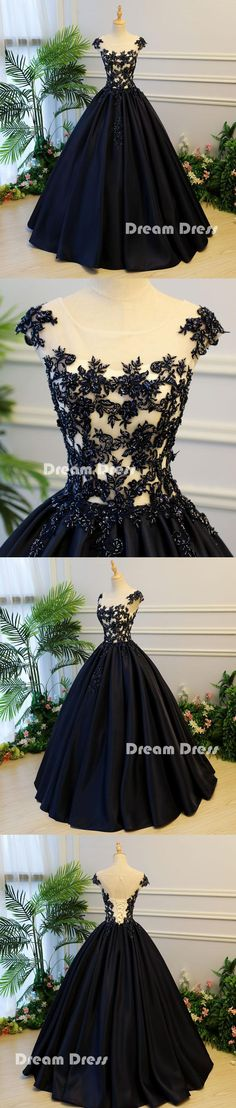 Black round neck satin long prom gown, black evening dresses,PD13007 #prom #dresses #shopping #fashion #eveningdresses