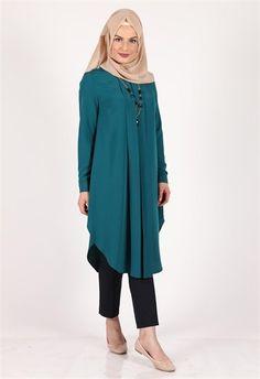 Neşe Piliseli Tunik Zümrüt 3052 Hijab Dress, Hijab Outfit, Dress Outfits,  Lovely Dresses