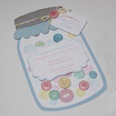 Mason Jar Invitation Baby Shower Buttons By JillyBearDesigns, $36.00