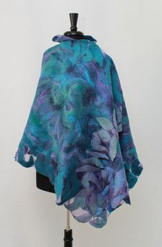 Large Felted Silk Scarf  Nuno Felted Silk Scarf Wool Eco shawl Boho Fiber Art Wrap OOAK by RaisaFelt on Etsy